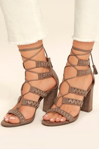 Report Myra Taupe Suede Lace-Up Heels