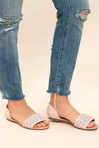 Voleta Dusty Pink Cutout Peep-Toe Flats