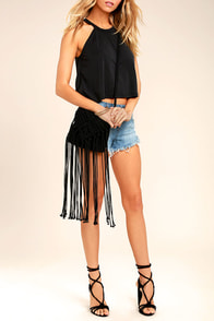 Mahala Black Crochet Fringe Purse