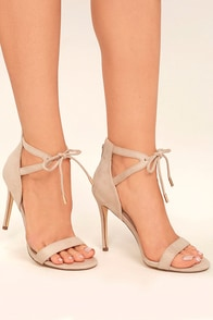 Kate Nude Suede Ankle Strap Heels
