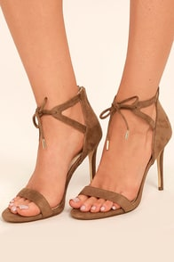 Kate Camel Suede Ankle Strap Heels