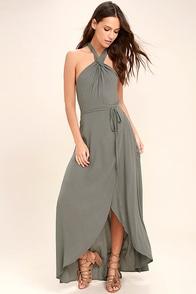 Marisha Washed Olive Green Halter Wrap Dress
