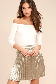 Swing Era Champagne Satin Mini Skirt