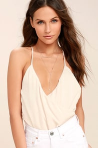 Call You Mine Cream Backless Bodysuit