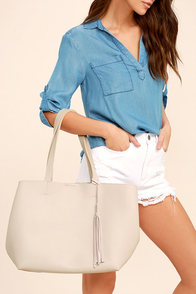 Timeless Beauty Light Grey Tote