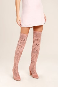 Steve Madden Eden Rose Suede Cutout Over the Knee Boots