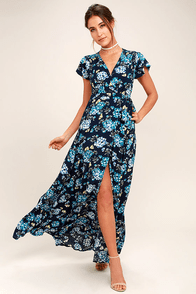 Hydrangea Hideout Navy Blue Floral Print Wrap Maxi Dress at Lulus.com!