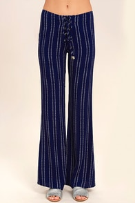 Touch of Flair Navy Blue Print Lace-Up Pants