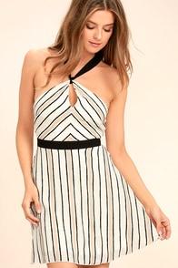 Spontaneous Trip White Striped Halter Dress