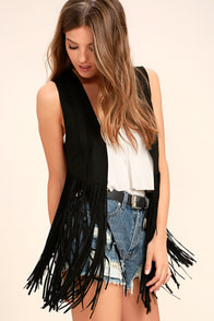 PPLA All Nighter Black Suede Fringe Vest