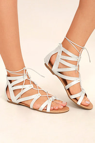 Neala Silver Lace-Up Flat Sandals