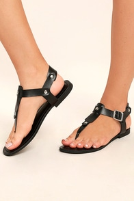 Madden Girl Matcha Black Thong Sandals