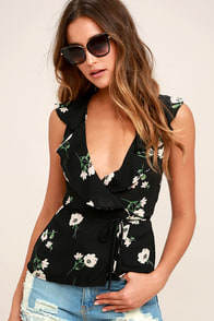 Build Me Up Buttercup Black Floral Print Wrap Top