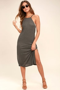 Olive & Oak Tribeca Heather Grey Midi Dress
