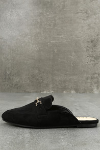 Nyssa Black Suede Loafer Slides