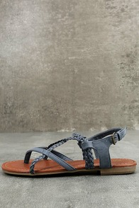 Mia Dannie Denim Blue Flat Sandals