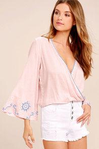 Zen Again Blush Pink Embroidered Crop Top