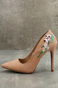 Circe Blush Embroidered Pointed Pumps