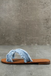 Cascara Blue Denim Slide Sandals