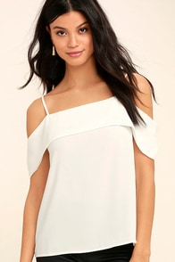 Play a Tune White Off-the-Shoulder Top