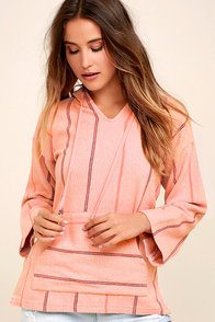 White Crow Los Osos Blush Pink Striped Hoodie