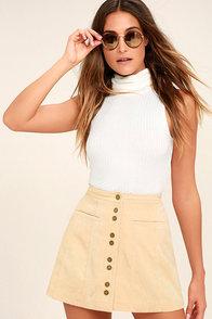 Made with Moxie Beige Corduroy Mini Skirt