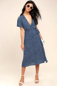 Gimme Your Love Navy Blue Polka Dot Wrap Dress