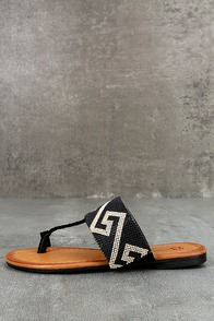 Matador Black Beaded Thong Sandals