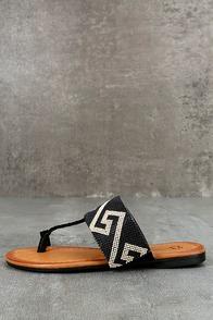 Matador Black Beaded Thong Sandals