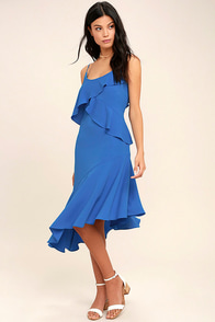 Adelyn Rae Desdemona Blue Midi Dress