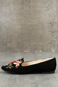 Arvida Black Suede Embroidered Loafer Flats