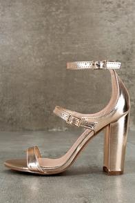 Shayndel Champagne Ankle Strap Heels
