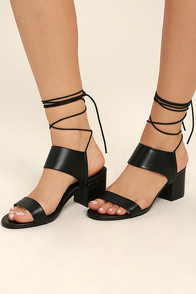 Salome Black Leather Lace-Up Heels