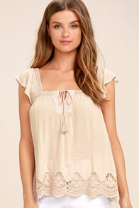 Lovely Evening Light Beige Lace Top