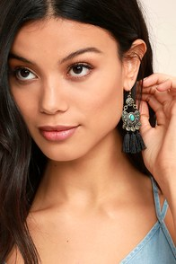 Ancient Ritual Gold and Black Tassel Earrings