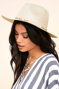 What I Like Light Beige Suede Fedora Hat