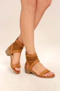 Kalama Camel Lace Heeled Sandals