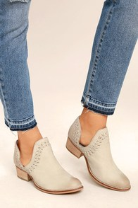 Rebels RB Cathy Ice Grey Leather Cutout Booties