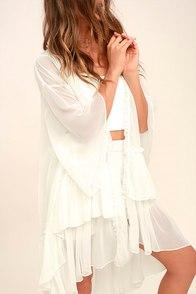 PPLA Coastal White Kimono Top
