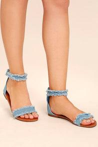 Antares Blue Denim Flat Sandals