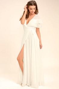 Wonderful Day White Wrap Maxi Dress