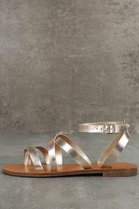 Sonata Champagne Flat Ankle Strap Sandals