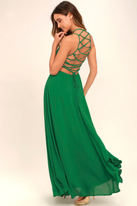 Strappy to be Here Green Maxi Dress