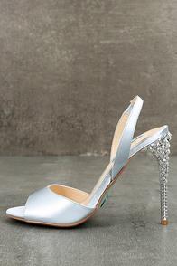 Betsey Johnson SB-Naomi Light Blue Satin Peep-Toe Heels