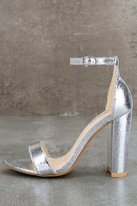 Glamorous Ceara Silver Ankle Strap Heels