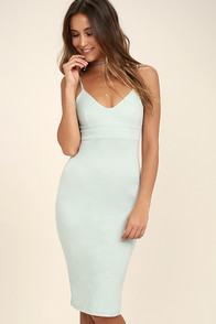 Don't Tell 'Em Light Blue Bodycon Midi Dress