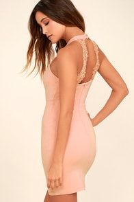 Endlessly Alluring Light Pink Lace Bodycon Dress