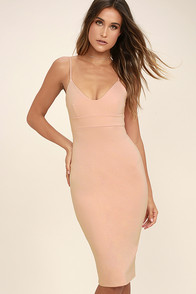 Don't Tell 'Em Blush Pink Bodycon Midi Dress