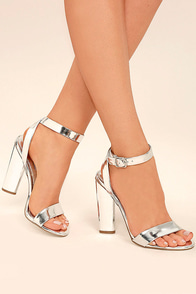 Steve Madden Treasure Silver Leather Ankle Strap Heels