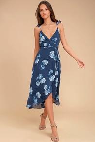 One Desire Navy Blue Floral Print Wrap Dress